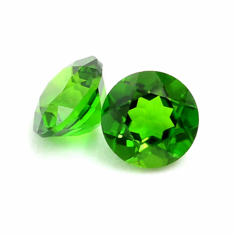 faceted stones 4mm round shape natural green chrome diopside
