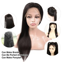 Lsy Wholesale Factory Price Peruvian Human Hair Wigs For Females Long Straight Lace Full Wig Natural High Ponytail Customized