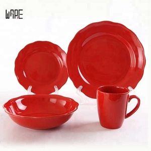 16 Piece Reactive Glazed Red Stoneware Dinnerware