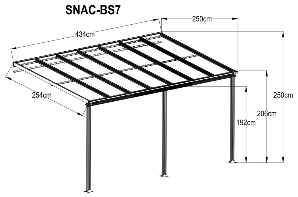 10 pies de ancho blanco terrazas y p rgola de aluminio - Perfiles aluminio para pergolas ...