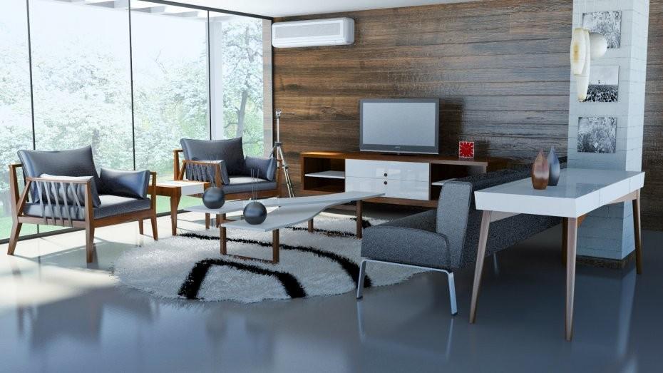 Modern Woonkamer Design : Wood partition design element stock