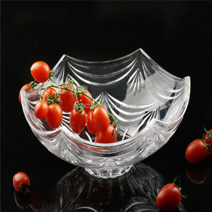 Hotel Round Crystal Fruit Plate/Pure Glass Tray For Hotel