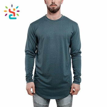 233f5d023619 Oversized curved hem t shirt solid color Army green T-Shirt Men's hip hop  Long