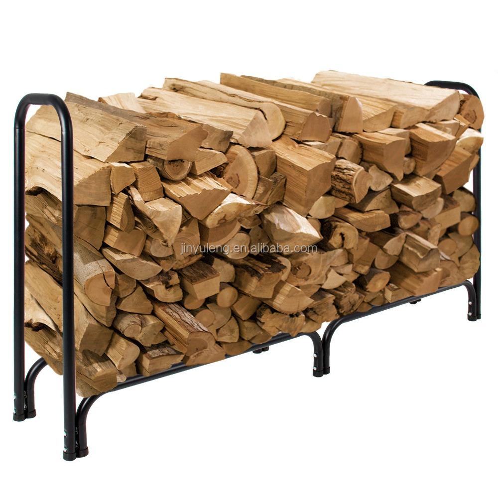 4ft 8 ft m tal bois de chauffage journal rack feu bois stockage titulaire acier int rieur. Black Bedroom Furniture Sets. Home Design Ideas
