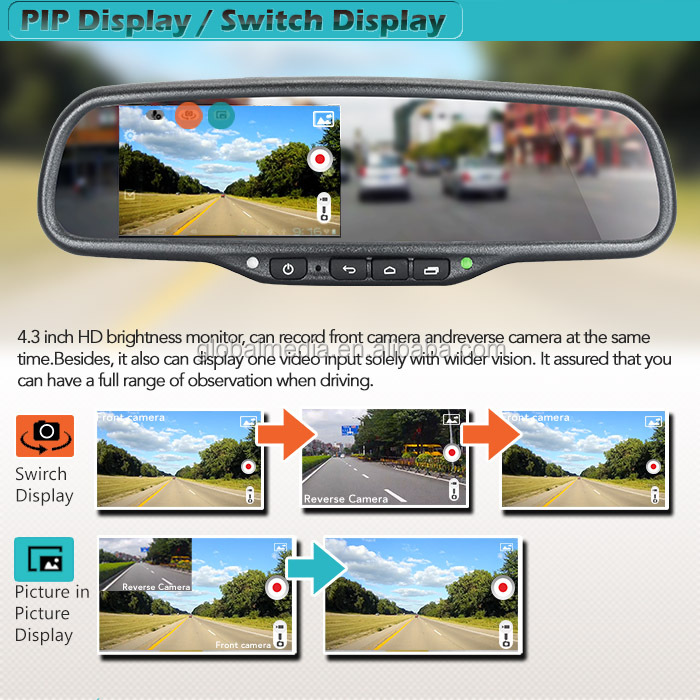 4.3 inch GERMID Android rear view mirror monitor with wifi bluetooth dvr backup camera gps google map