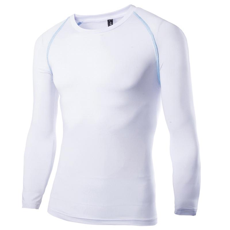 2e45e955648 Buy New White Compression Shirt 2015 Fashion Design Long Sleeve Mens  Fitness Running Biker T Shirt Brand Stylish Sport T Shirt Homme in Cheap  Price on ...