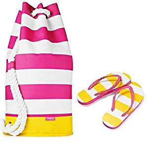Clinique Summer Beach Tote Duffle Bag + Flip Flops (LARGE size (8-9)), LIMITED EDITION