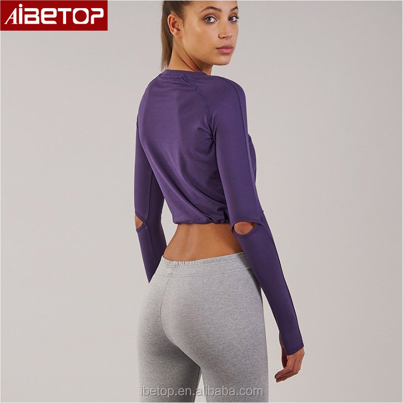 a3d0219a192 Training running womens compression tights wholesale crop top long sleeve  blank yoga raglan t shirt with