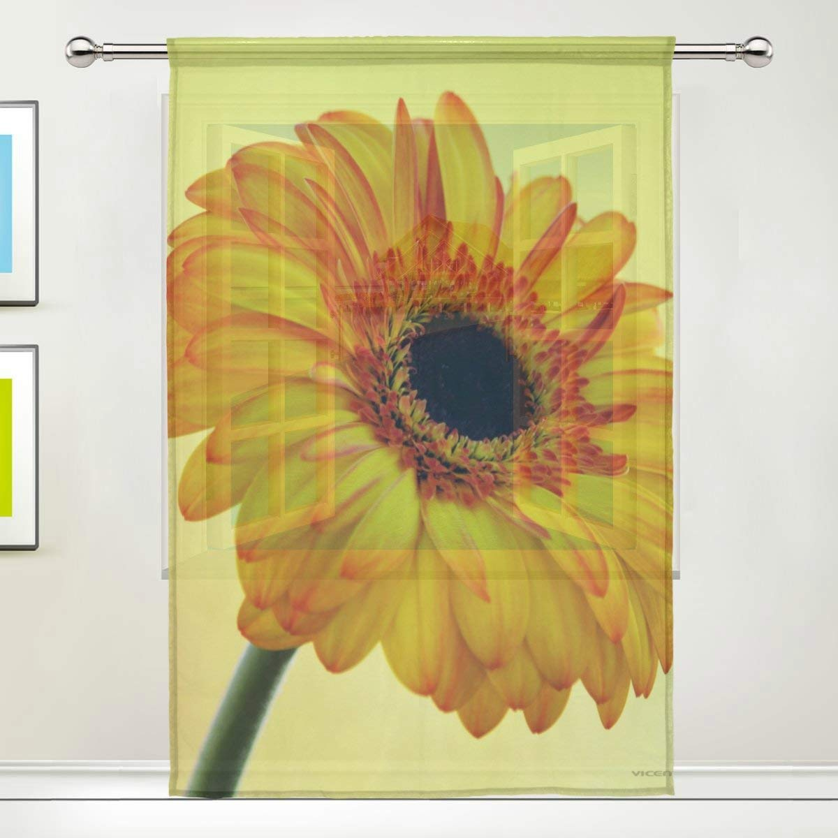 Cheap yellow flower curtains find yellow flower curtains deals on get quotations tsweethome window treatments sheer curtains draperies with yellow burst flower for living room bedroom mightylinksfo