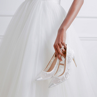 New Pearls Ivory White High Heel Women Bridal Wedding Shoes