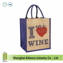 screen printing jute tote bag,jute shopping bag,jute wine bag