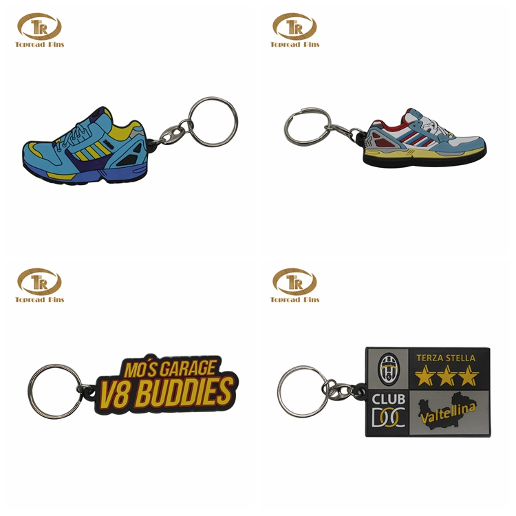 Wholesale fashion design souvenir gift custom logo 3d rubber keychain