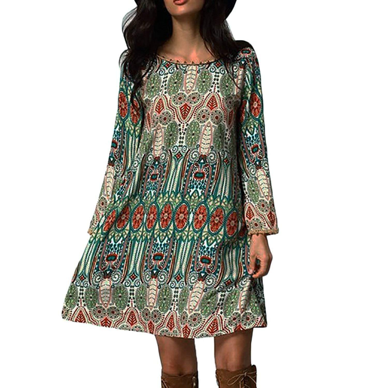 Lisli Women Bohemian Vintage Printed Ethnic Style Loose Casual Tunic Dress