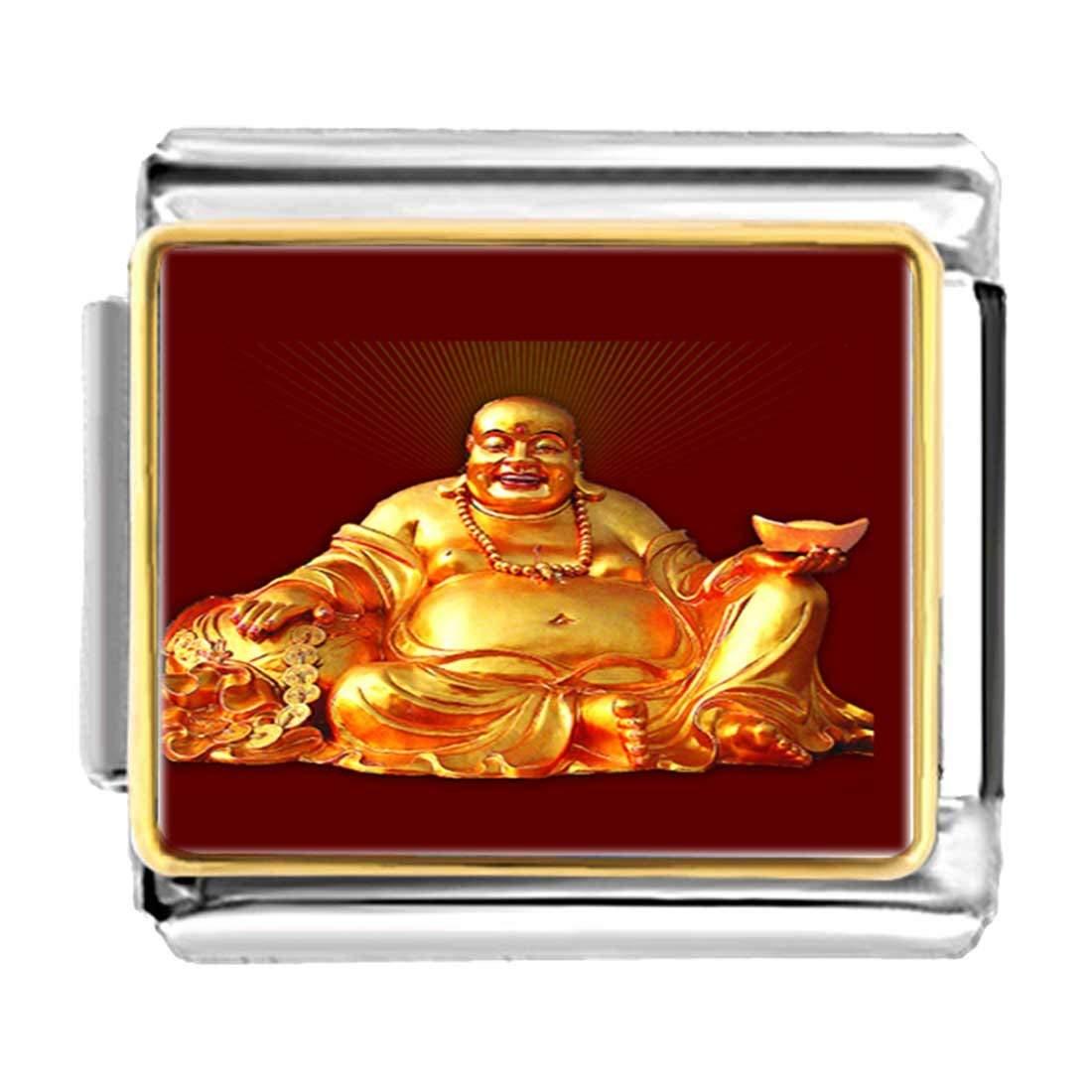54f2446f3b Get Quotations · GiftJewelryShop Gold Plated Religion Huge Buddha Figure  Bracelet Link Photo Italian Charm Bracelets