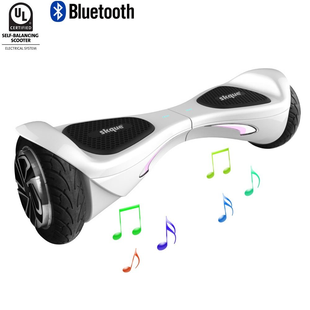 """Skque X1 - UL2272 (MAX 264 lbs) Self Balancing Scooter / Hoverboard, 6.5"""" 8"""" 10"""" Smart Two Wheel Self Balancing Electric Scooter with Bluetooth Speaker and LED Lights"""