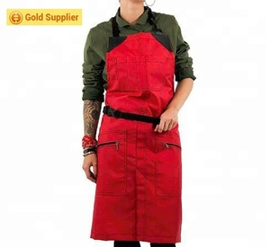 Heavy Duty waterproof Nylon apron custom print barber apron with Zipped pockets for unisex