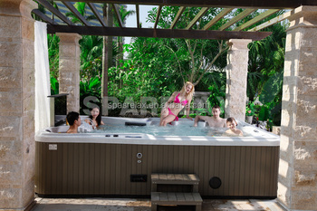 luxury outdoor soaking tub for family massage type to enjoy spa every day