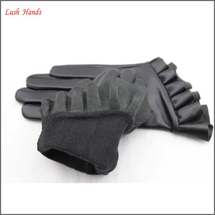 ladies genuine short driving leather gloves