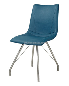 Blue Chair,Pu Upholstery,Metal Chrome In K/d Structure Dinning Chair - Buy  Chrome Kitchen Chairs,Metal Chrome Chair Base,Chrome Dining Chairs Product  ...