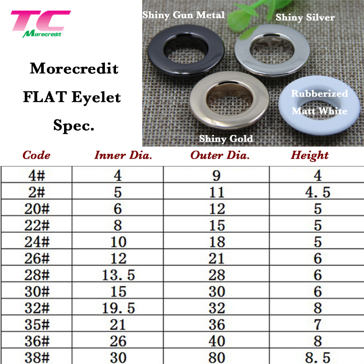 Morecredit Blank Brass Round Curtain Grommet Fastener Manufactory, Wholesale Custom Metal Ring Eyelet For Swimwear
