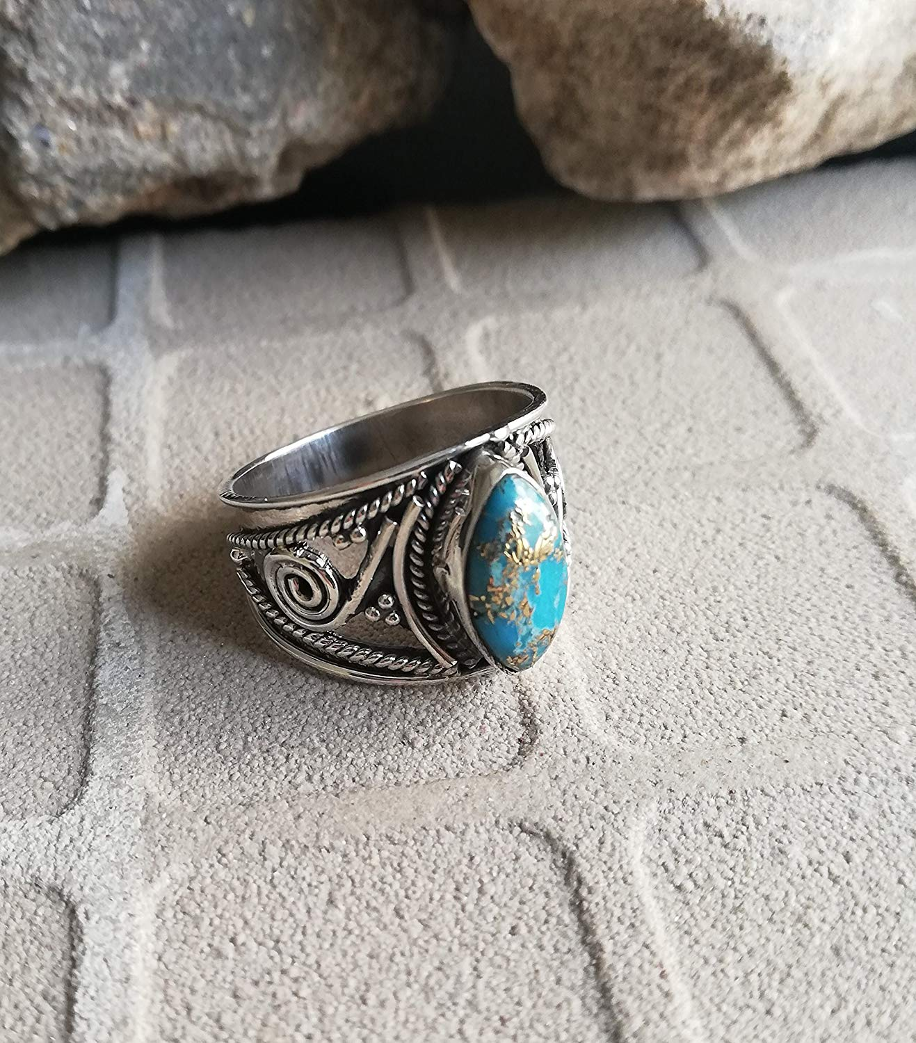 Blue Copper Turquoise Ring, 925 Sterling Silver, Wide Band Ring, Designer Ring, Marquise Shape Ring, Victorian Ring, One Of A Kind, Ocean Ring, Ethnic Ring, Western Ring, Healing Ring,US All Size Ring
