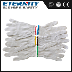 Economy Bleached White Poly Cotton String Knit Gloves