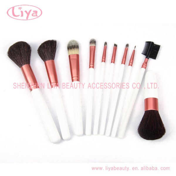 Hot Sale 10pcs Synthetic Protable Makeup Tools & Accessories wood Cosmetic Brush