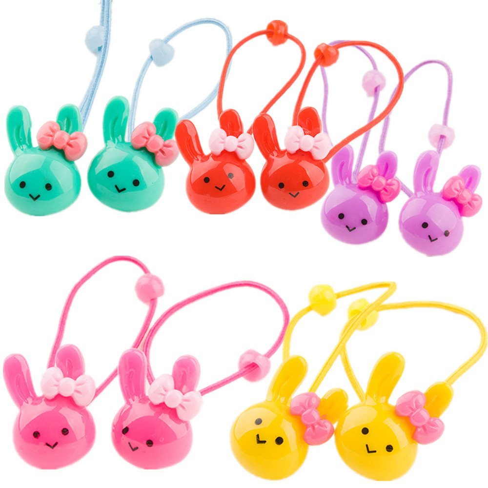 Cuhair(tm) 2015 New Fashion Top Quality Baby Girl Kids Same As Picture 10pcs (2pcs skyblue, 2pcs purple ,2pcs red,2pcs pink and 2pcs yellow)Hair Rope Hair Accesorries Pretty Rabbit Head with Bowknot Hair Rope Hair Band Accessories Rubber Band Elastic Hair Rope for Baby Kids Girl