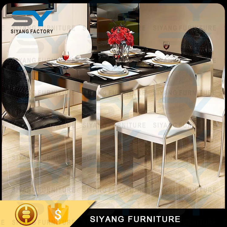 Movable L Shaped 10 Seater Marble Dining Table Singapore Detachable Stainless Steel Restaurant Tables Ct009