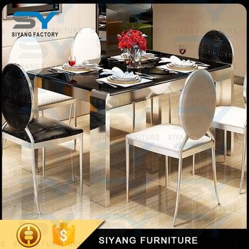 Movable L Shaped 10 Seater Marble Dining Table Singapore Detachable Stainless Steel Restaurant