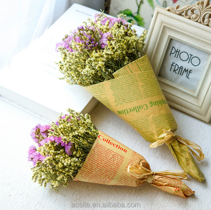 Hot Sale baby breath bunches dried flowers wrapped in giant kraft paper