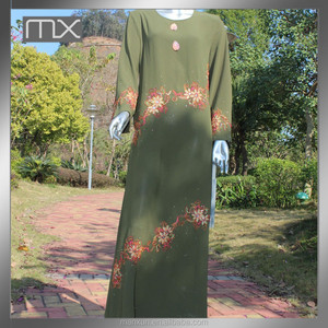 long sleeve muslim hijab embroidered arabic dubai burqa green baju kurung dress