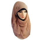 Fashion solid color muslim women scarf style crinkle chiffon hijab with beading