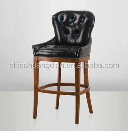 chesterfield pu leather bar stool with wood hdb549 buy leather bar stool pu bar stool leather. Black Bedroom Furniture Sets. Home Design Ideas