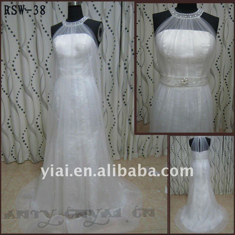 RSW-38 YIAI Popular Factory Outlet Customed Halter Beautiful Applique And Tulle Ladies Fashion Wedding dress