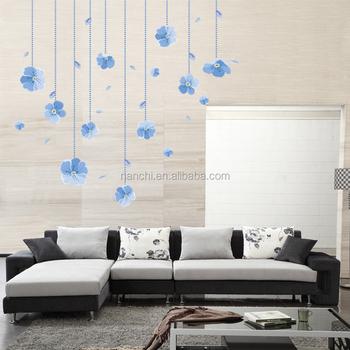 Disegno Delicato Blu Fiori Adesivi Da Muro Per Camera Da Letto Soggiorno  Divano Adesivo De Parede Casa Negozio Di Visualizzazione Di Windows ...