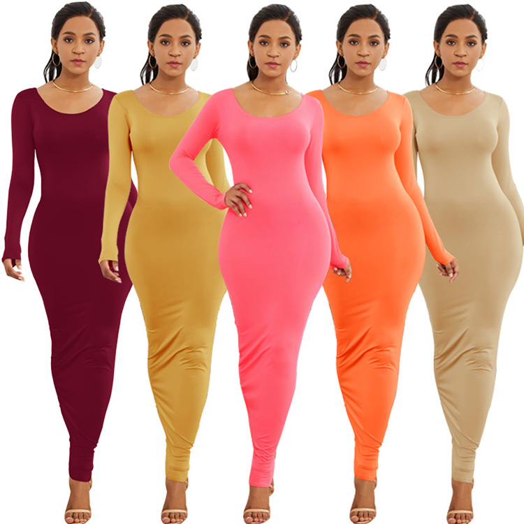 Women's sexy sundress long skirt fashionable long sleeve O-neck solid color multicolor personalized women casual dresses