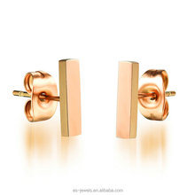 Simple jewelry picture titanium steel rose gold plated square bar fancy stud earrings for girls