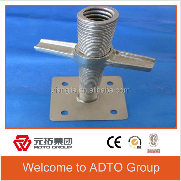 Wholesale hot dipped-galvanized solid section adjustable base jack for scaffolding