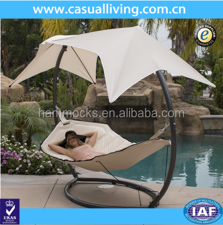 Outdoor Hammock Swing Lounger with Canopy Sunshade Patio Sun Lounge Bed