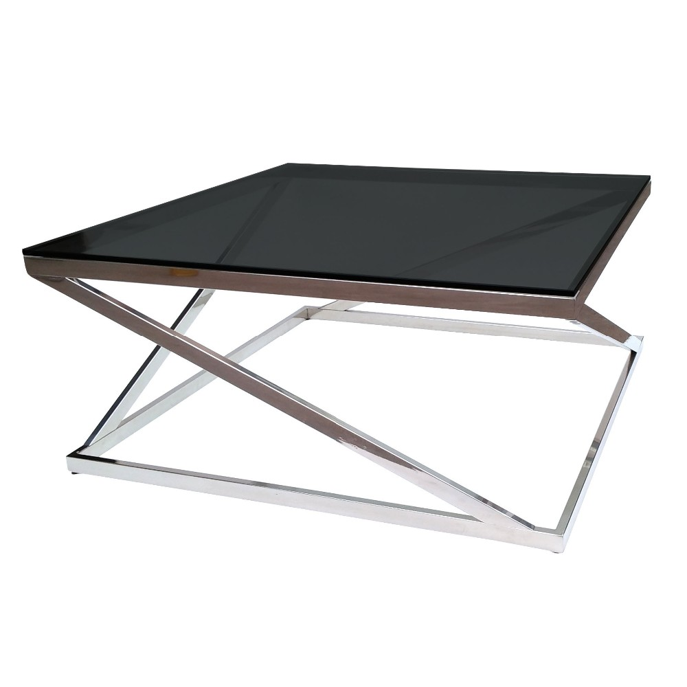 Modern glass coffee table square stainless steel frame for Metal frame glass coffee table