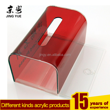 Factory Custom Red Square Pmma Plexiglass Name Card Box Case Acrylic