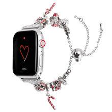 Ремешок для часов женский iWatch, Рождественский металлический браслет с регулируемой цепочкой для Apple Series 4 3 2 1 Edition(China)
