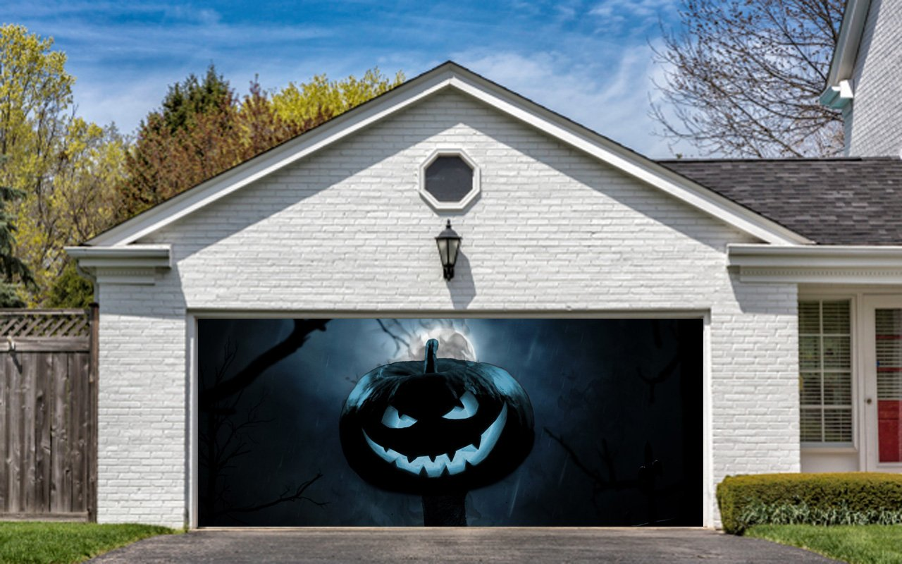 Buy Halloween Garage Door Cover Decor Pumpkin Night Bat ...