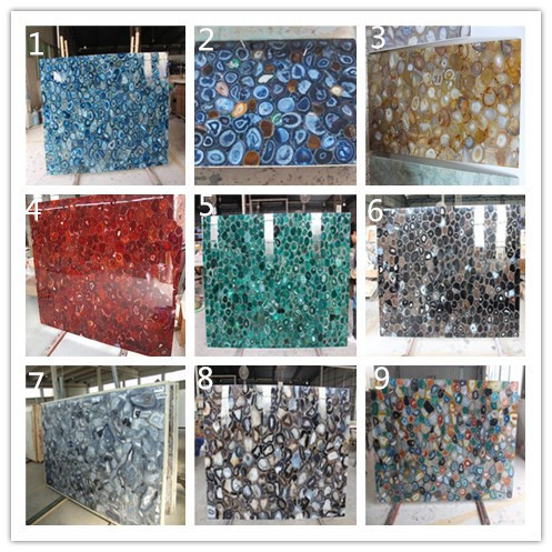 High Quality Black Agate Stone Mosaic Panel Semi Precious Gem Countertop Slab Wall Tile