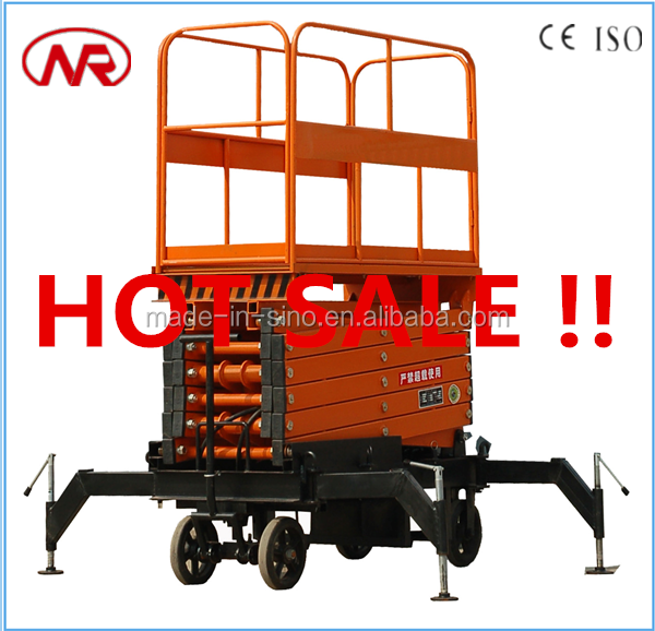 hydraulic mobile four wheels scissor lift used aerial work platform
