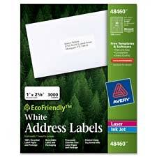 "Avery Consumer Products : Labels, Address, 1""x2-5/8"", 750/BX, White -:- Sold as 2 Packs of - 750 - / - Total of 1500 Each"