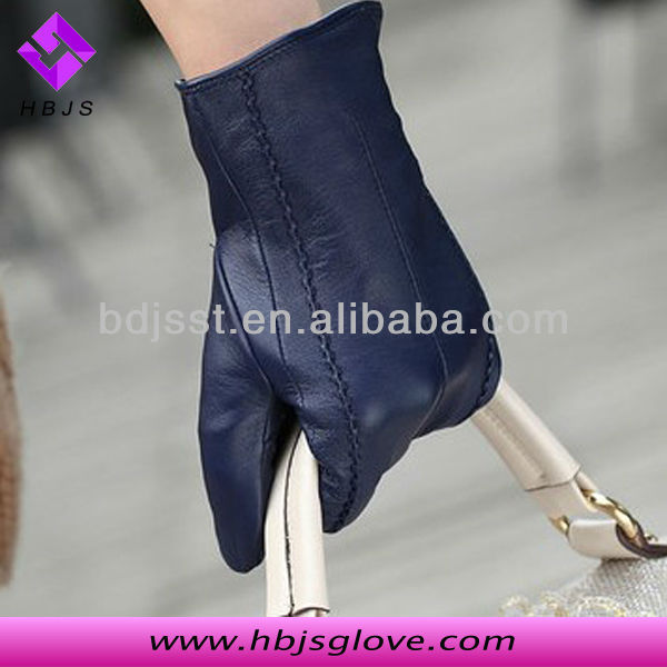 2013 new arrival womens blue winter warm cabretta Fleece Lined leather Glove JSW30320