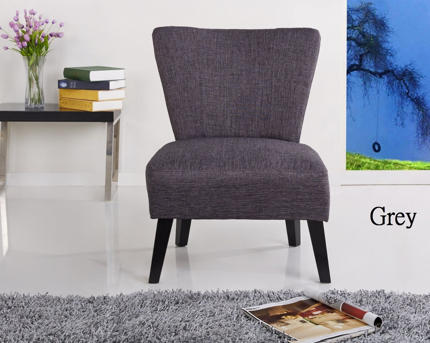 Container Furniture Direct Alice Collection Contemporary Upholstered Fabric Armless Living Room Accent Chair, Grey