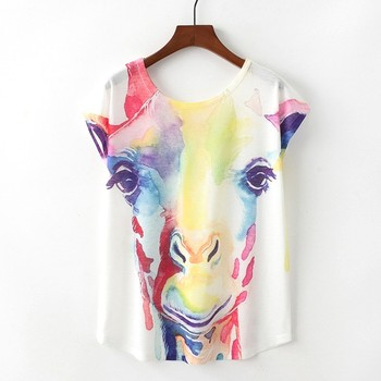 Hot sale short sleeve Painted giraffe woman t shirt